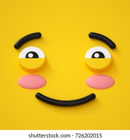 3d render, abstract emotional face icon, shy character illustration, cute cartoon monster, emoji, emoticon, toy