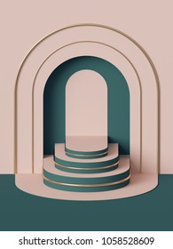 3d render, abstract geometric background, stairs, fashion podium, mock up, blank template, minimalistic empty showcase, primitive arch shapes, art deco shop display, pastel colors