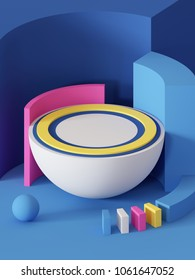 3d render, abstract geometric background, primitive shapes, toys, hemisphere, ball, sector, bright colorful blocks