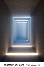 3d render of abstract illuminated empty corridor interior made of gray concrete, glowing blue lines, daylight shining tunnel with no exit, minimalistic space