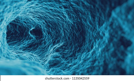 3d render abstract macro background. Microscopic macro closeup of inner surface. Camera passing in tunnel displaced with fractal noise texture.