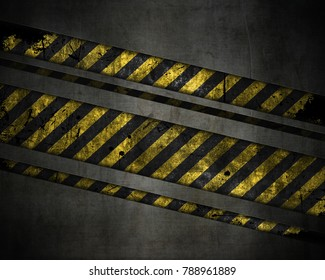 3D render of an abstract metallic texture background with yellow and black striped grunge design