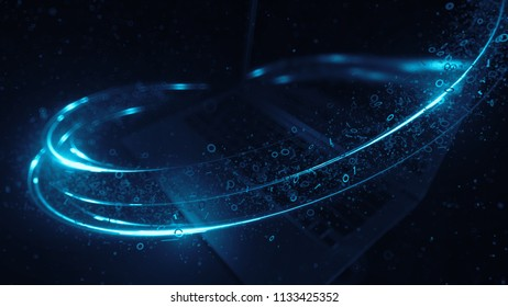 3d render abstract technology background with light and binary digit particles.