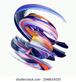 3d render, abstract twisted brush stroke, paint splash, splatter, colorful spiral, artistic smear, vivid ribbon, isolated on white