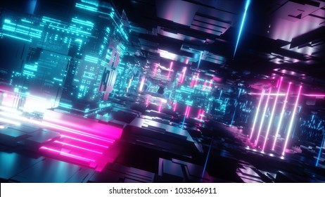 3d render, abstract urban background, futuristic pink blue neon light, geometric structure, big data, quantum computer, storage, cyber safety, virtual reality