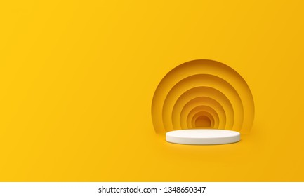 3D Render of Abstract Yellow Composition with Podium. Minimal Studio with Round Pedestal and Copy Space. Futuristic Interior Backdrop for Landing Page, Showcase, Product Presentation.  - Shutterstock ID 1348650347