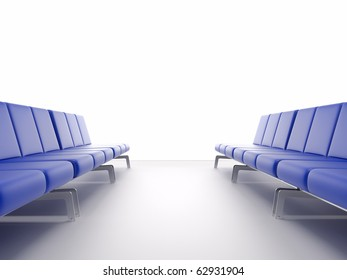 3d render airport interior. High resolution image. Chair in the hall.