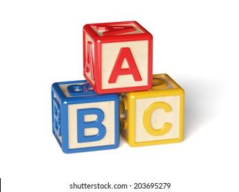 3d render of alphabet blocks isolated on white background