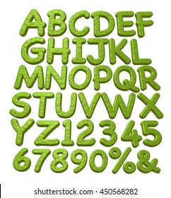 3D render alphabet font with number on white background.