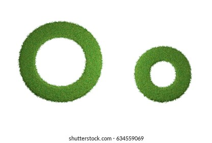 3D Render. Alphabet Grass Font For Design .Creative Idea. Alphabet Grass for Exterior Garden. Isolated on White Background with Clipping Path