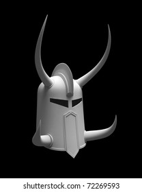 3d render of ancient war helmet with horns isolated on dark gray