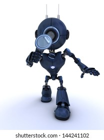 3D Render of an Android inspecting with a magnifying glass
