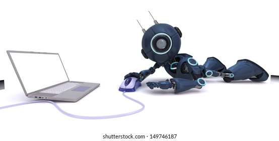 3D Render of an Android with laptop and computer mouse
