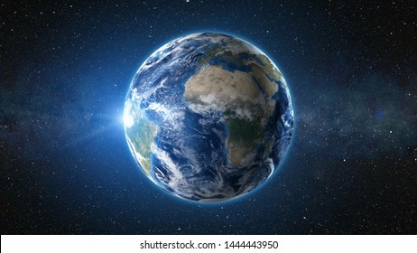3D Render animation: sunrise view from space on Planet Earth. High detailed. Africa zone. Blue world in black Universe in stars. Realistic world globe. Elements of this image furnished by NASA