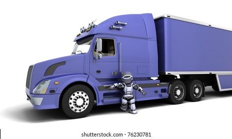 3D render of arobot with American semi-truck