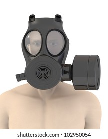 3d render of artificial character with gas mask