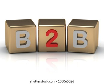 3d render B2B Business to Business symbol on gold cubes on white background