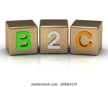 3d render B2C Business to Consumer symbol on gold cubes on white background