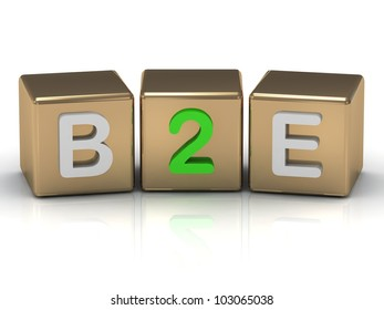 3d render B2E Business to Employee symbol on gold cubes on white background