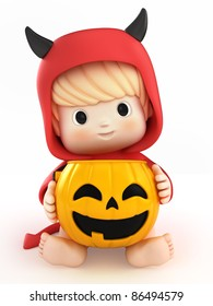 3D render of a baby in a devil costume