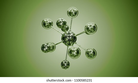 3d render background with abstract cell. Biology conceptual with simple molecule structure.