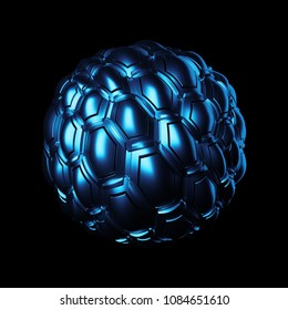3d render background. Displacement surface. Random patterns extruded from the metal sphere shape.