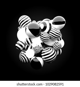 3d render background. Reflective materials. Stripe patterns and glow spheres form abstract massive figure in the center of the frame.