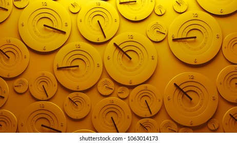 3d render background. Wall filled with clocks show random time. Deadline and speed concept.