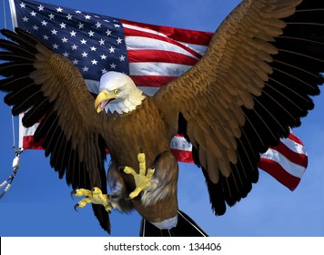 3D render  of a Bald Eagle with the US flag.