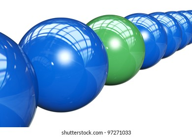 3d render of balls in row, isolated on white