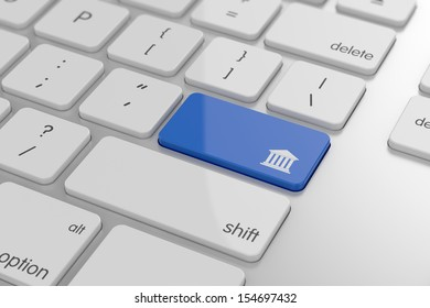 3d render of bank button on keyboard with soft focus