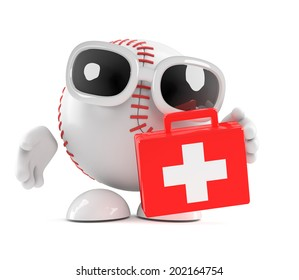 3d render of a baseball character holding a first aid kit