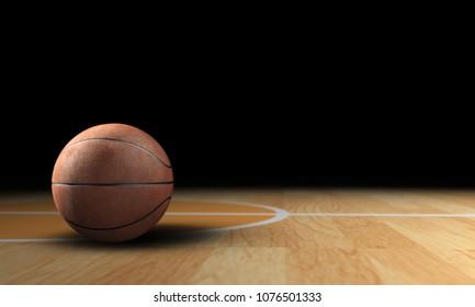 3d render basketball put on basketball court lighting over on basketball
