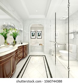 3d render of bathroom and lavatory