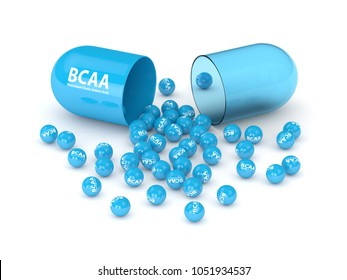 3d render of BCAA pill and granules lying on white table. Sports nutrition concept.