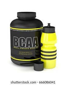 3d render of BCAA powder with water bottle isolated over white background