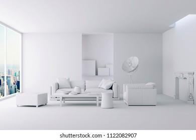 3d render of beautiful clean interior render