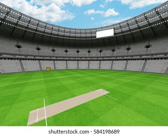 3D render of a beautiful modern round cricket stadium with white seats and VIP boxes for hundred thousand people