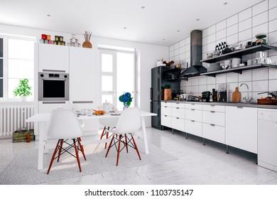 3d render of beautiful  scandinavian kitchen design