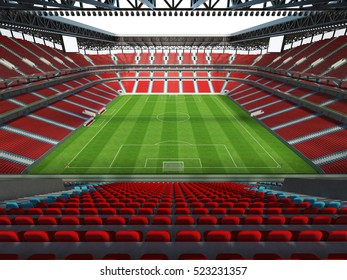 3D render of  a beautiful stadium interior with red chairs