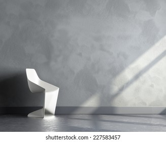 3d render of big empty room with white plastic chair