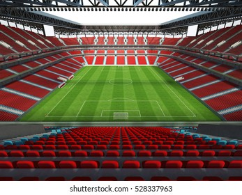 3D render of a big football - soccer stadium with open roof and red chairs behind the goal
