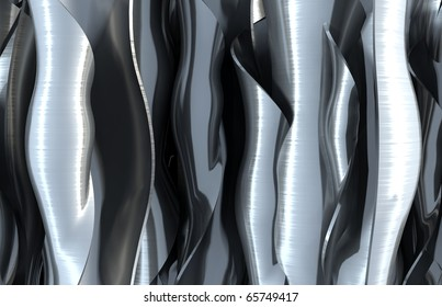 3D render bitmap - brushed metal wavy structure