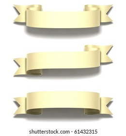3D render bitmap - shiny gold ribbon on white