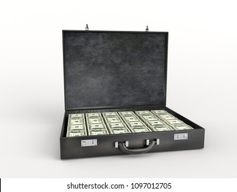 3D render of black leather briefcase stuffed with one hundred dollar bills over white background