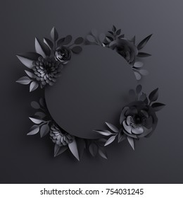 3d render, black paper flowers, botanical background, blank round banner, floral card, gothic frame