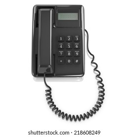 3d render of a black telephone