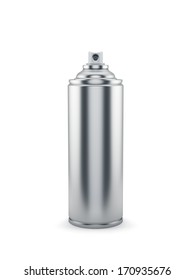 3d render of blank aluminum spray paint can