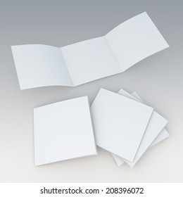 3D render blank trifold, leaflet, brochure in isolated background with work paths, clipping paths included