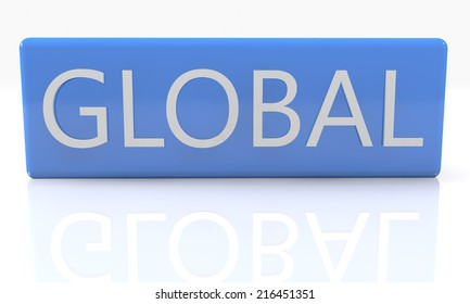 3d render blue box with text Global on it on white background with reflection